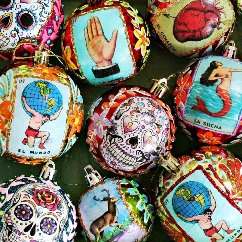 Water And Sugar For Christmas Tree: Mark Montano: Sugar Skull And Loteria Ornaments