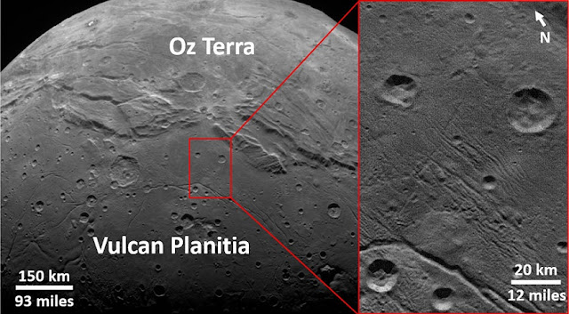 "An SwRI-led team studied the craters and geology on Pluto and Charon and found there were fewer small craters than expected. This implies that the Kuiper Belt contains relatively small numbers of objects less than 1 mile in diameter. Imaged by New Horizon's LORRI camera, the smooth, geologically stable ""Vulcan Planitia"" on Charon illustrates these findings. Courtesy of NASA/JHUAPL/LORRI/SwRI"
