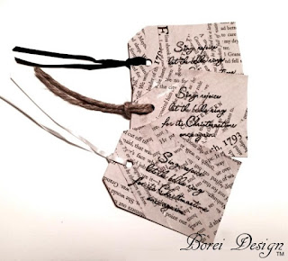 Borei Design Recycled Book Page Christmas Tags Tutorial