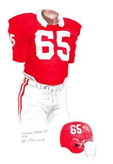 1973 Alabama Crimson Tide football uniform original art for sale