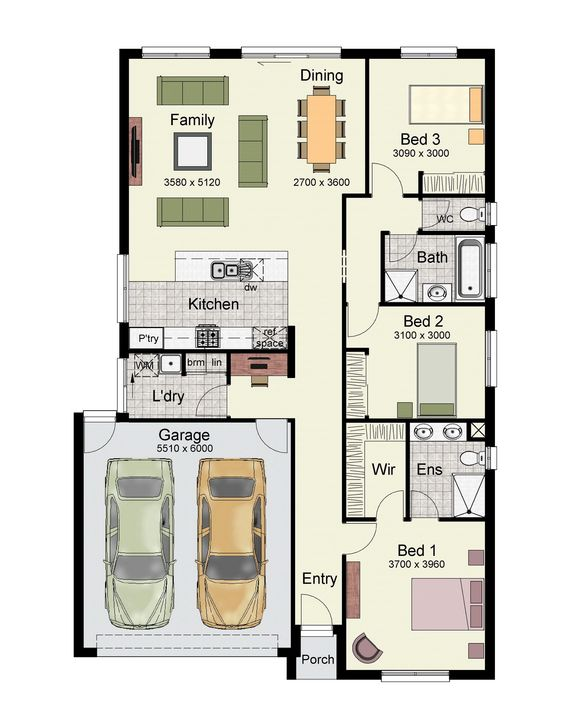 Single Story Home Floor Plan With 3 Bedrooms, Double Garage, And 222 Square  Meters