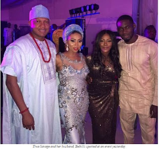 TIWA SAVAGE AND HUSBAND SPOTTED FOR THE FIRST TIME AT AN EVENT AFTER THEIR MARRIAGE HIT THE R0CKS (SEE PHOTO)