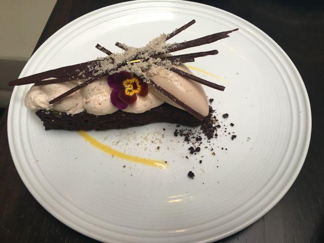 Milk chocolate torte with chestnut mousse, black walnut ice cream ...