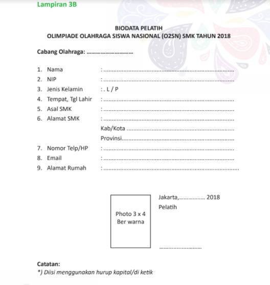 Form Biodata Pelatih O2SN SMk 2018