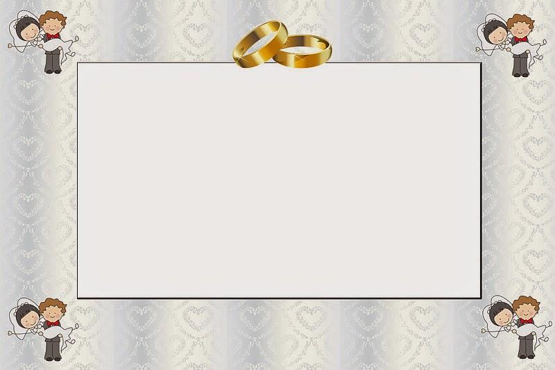 Caricatura de novios invitaciones para imprimir gratis - Marcos de plata para bodas ...