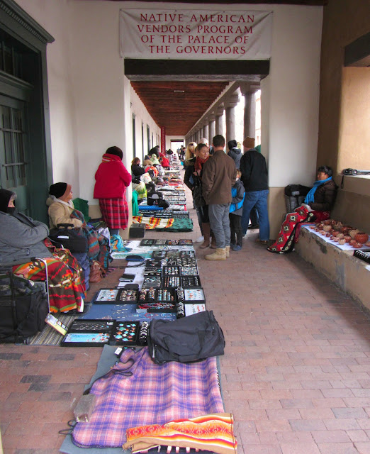 Native American vendors on the porch of the Palace of the Governors in Santa Fe, New Mexico