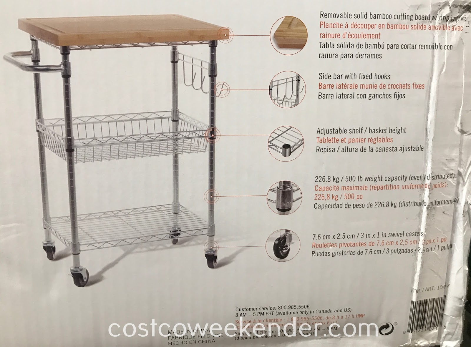 Trinity Bamboo Top Kitchen Cart: great as a prep station or an island for the kitchen