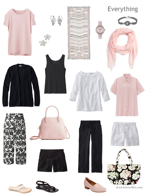travel capsule wardrobe in pink, black and white for warm weather