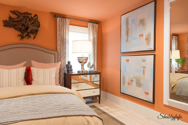 Another bedroom in the HGTV Dream Home 2016 - this terra cotta colored guest room was created by David Bromstad.