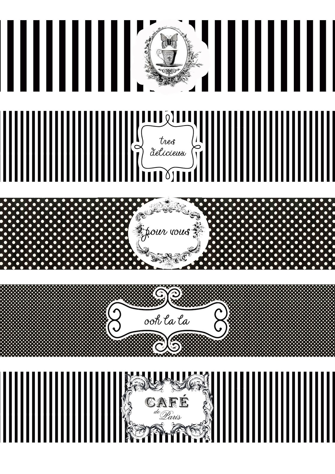 Black And White Party Free Printable Labels - Worksheet & Coloring Pages