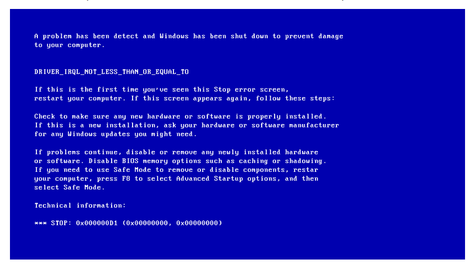 حل-مشكلة-الشاشة-الزرقاء-0x000000D1-Driver-IRQL-Not-Less-Than-Or-Equal-To