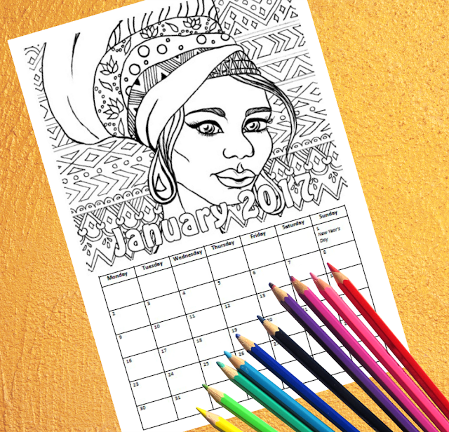Printable coloring calendar for 2017! Ethnic portraits, fashion and jewellery with patterns and flowers in the background for adults and children to color.