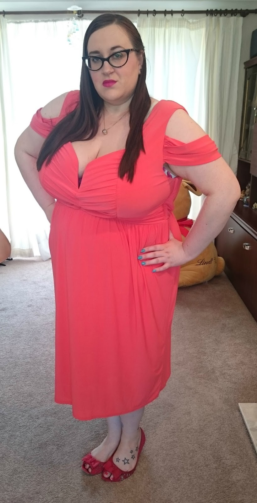 Burnt Orange Midi Dress with Drape Shoulder. 24 Jun 2015. Posted by Does My  Blog Make Me Look Fat ... 940e39d6d