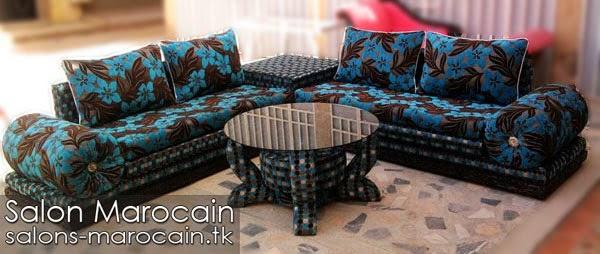 Salon marocain moderne bleu noir - Boutique Salon marocain ...