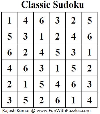 Classic Sudoku (Mini Sudoku Series #47) Solution