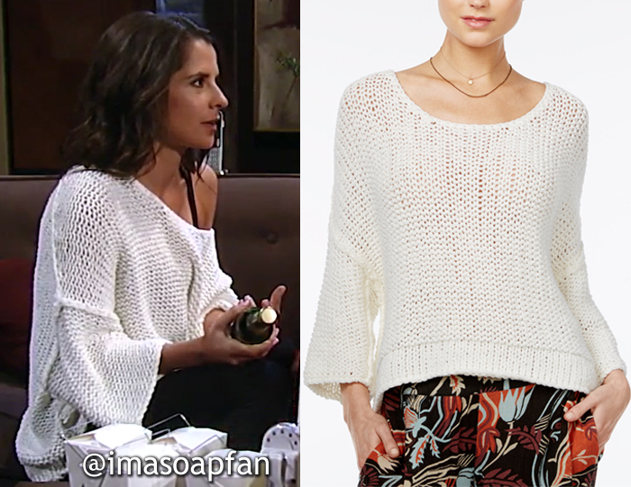 Sam Morgan, Kelly Monaco, White Chunky Knit Sweater, Free People, GH, General Hospital, Season 55, Episode 05/22/17
