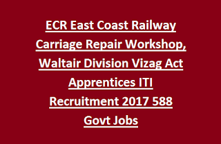 ECR East Coast Railway Carriage Repair Workshop, Waltair Division Vizag Act Apprentices ITI Recruitment 2017 588 Govt Jobs