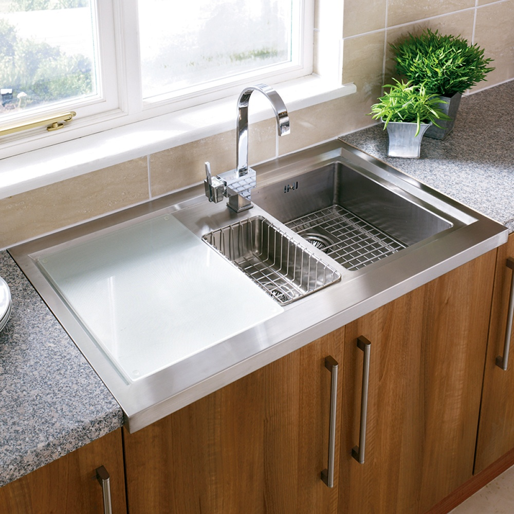 Undermount stainless steel kitchen sink constructed for for Stainless steel bathroom countertops