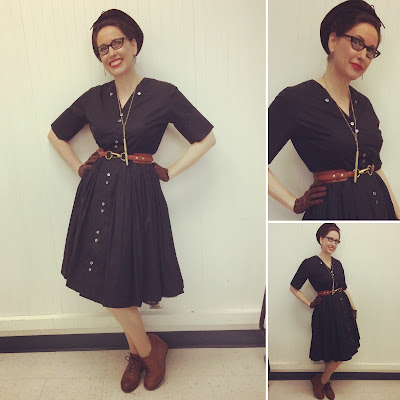 Gail Carriger in Black Cotton Day Dress with Brown Accessories 2018
