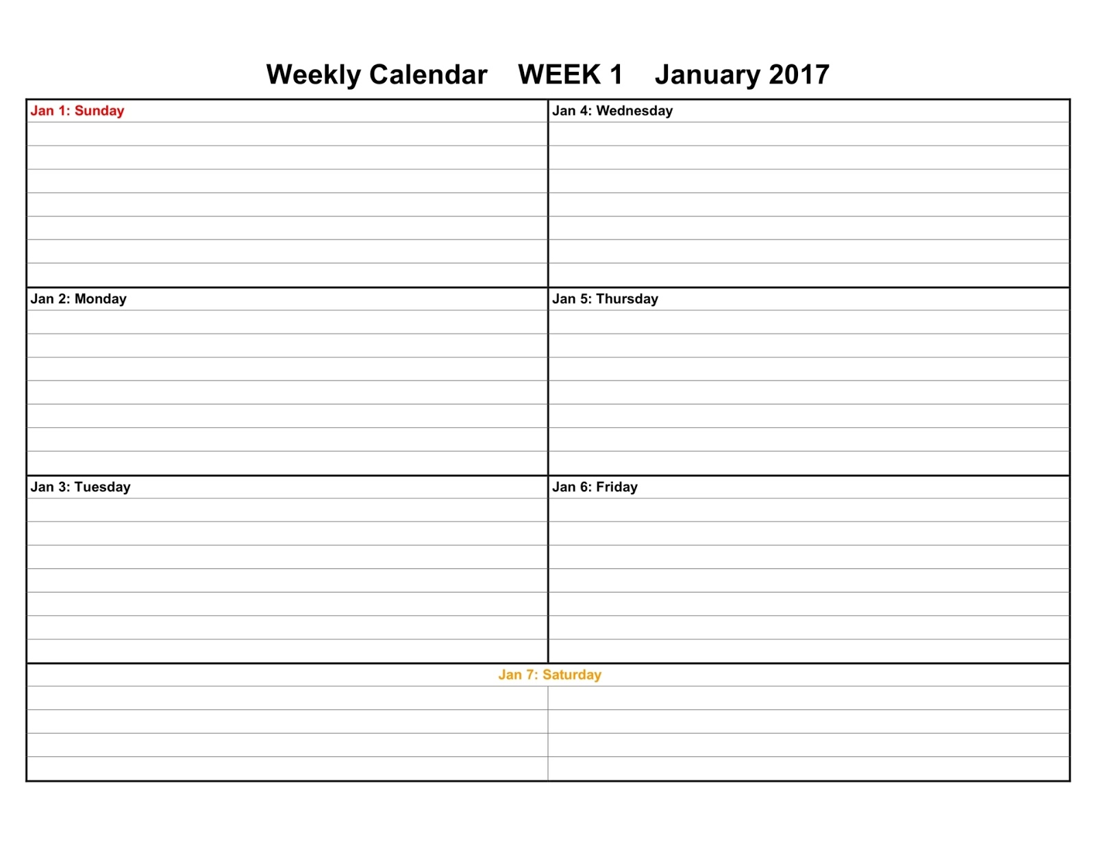 2017 weekly calendar templates for Calnedar template