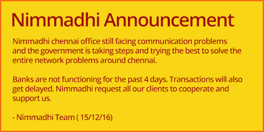 Nimmadhi Announcement