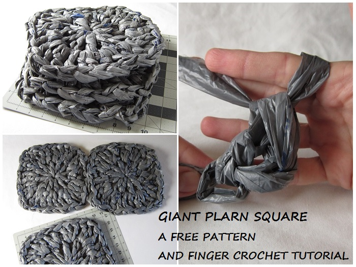 free crochet pattern, square, plarn, finger crochet, tutorial