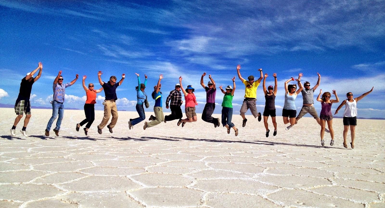 Group pic in the Salar de Uyuni, Bolivia