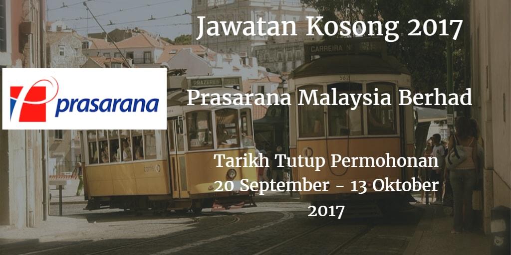 Jawatan Kosong Prasarana Malaysia Berhad 20 September - 13 Oktober 2017