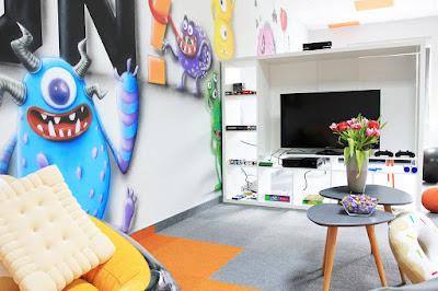 Chillout room, mural 3D, malowanie obrazów na ścianie, aranżacja chillout room, mural 3D