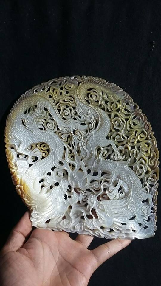 dragon seashell carving