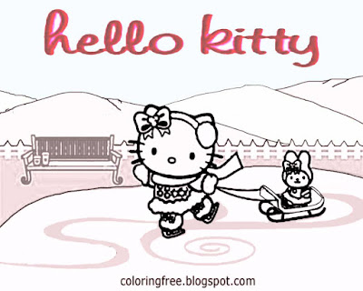 Cool winter ice skating sweet hello kitty Christmas printable girls pretty coloring images of sport