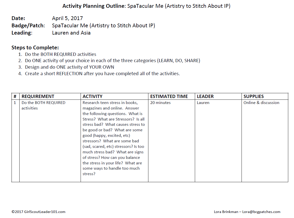 Girl Scout Leader 101 Badge Planning Sheet