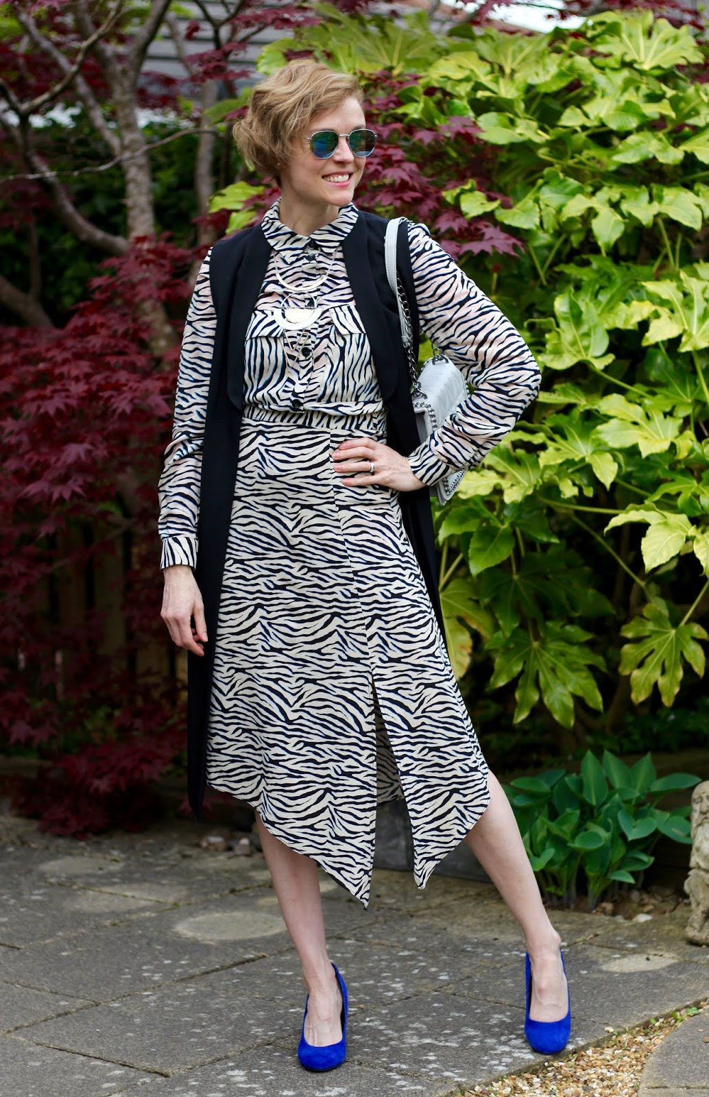 Animal co-ord, Zebra and blue Spring Work Outfit | Fake Fabulous