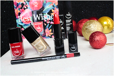 recensione nails  red gold Lipstick lip pencil rosso  oro best wishes TNS cosmetics Christmas