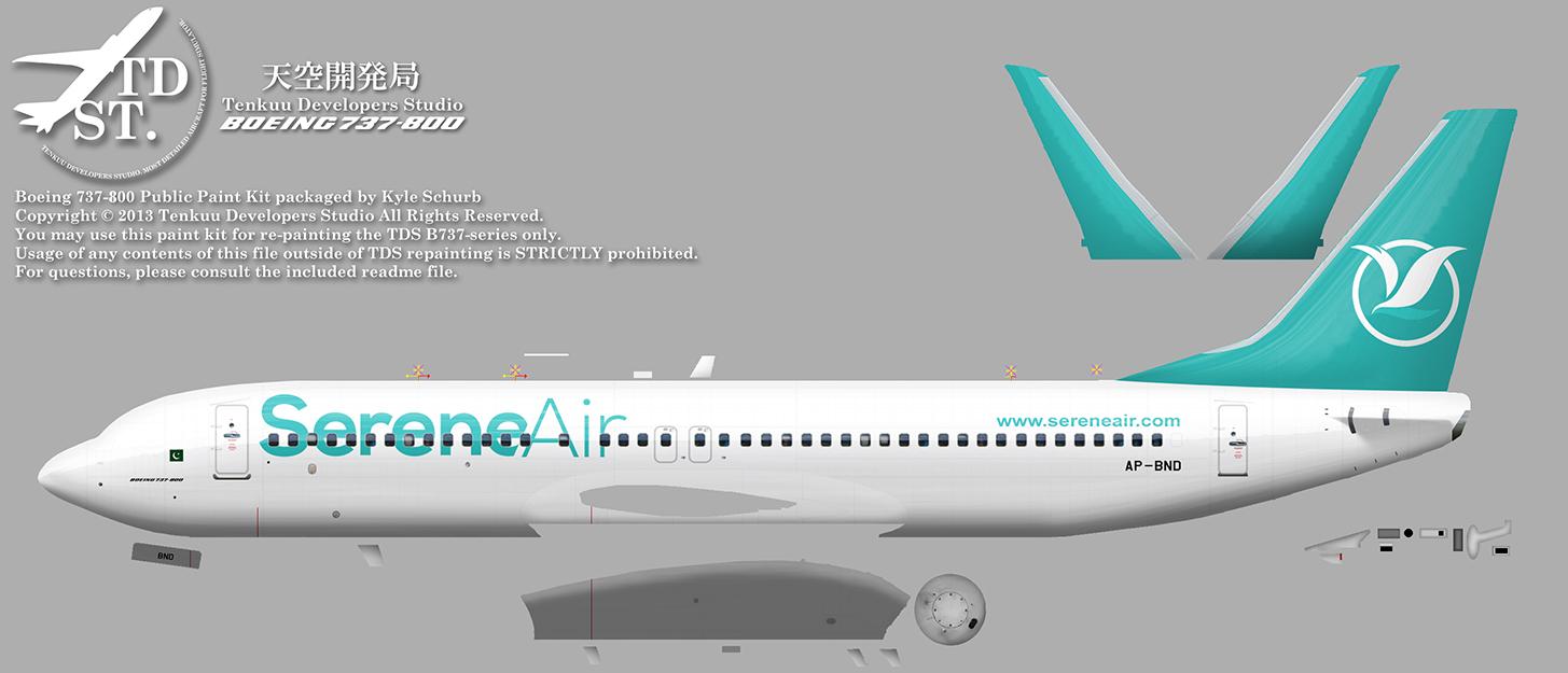 FSRepainter: TDS 737-800W Serene Air AP-BND