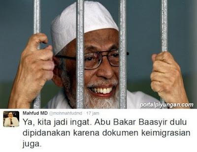 Kasus Paspor Menteri ESDM, Mahfud MD Teringat Kasus Imigrasi Ustadz Abu Bakar Baasyir