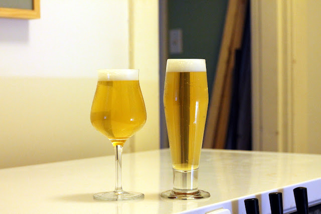 Pilsner on the right, Saison on the left.
