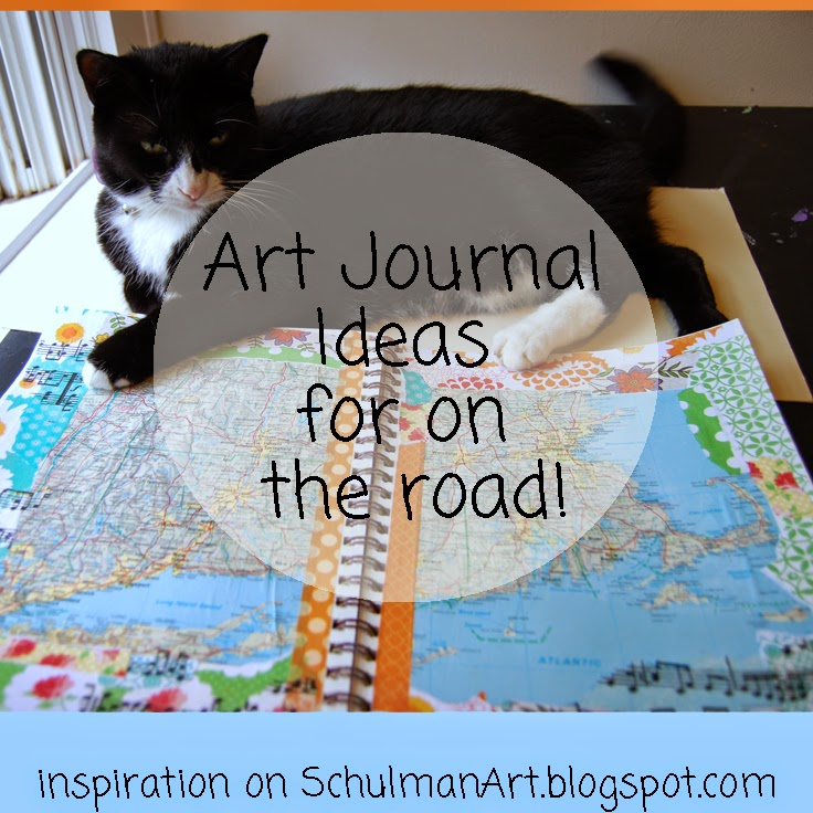 art journal ideas | art journal pages  | art journal techniques http://schulmanart.blogspot.com/2014/08/art-journal-ideas-two-for-road.html