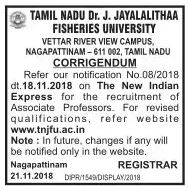 tn-jayalalitha-fisheries-university-assocaite-Professor-recruitment-corrigendum-tngovernmentjobs