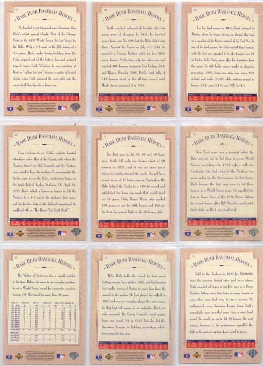 Babe Ruth Baseball Heroes Complete set (Upper Deck '95)
