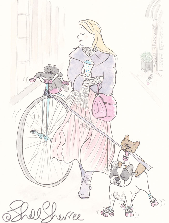 Penny Farthing Cat and Skating French Bulldogs fashion and fluffballs illustration © Shell Sherree