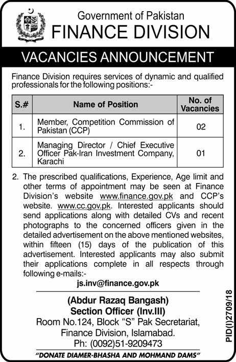 Finance Division Government of Pakistan Jobs Dec 2018