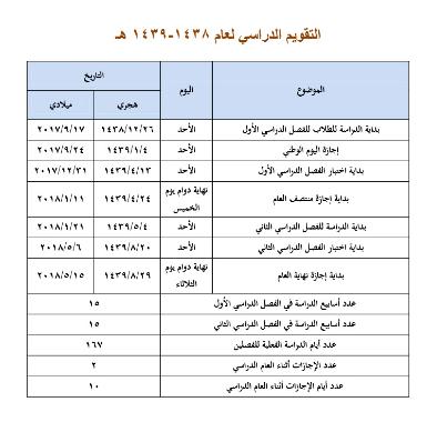 التقويم الدراسي 1438 وزارة التربية والتعليم موعد المدارس 2018 السعودية