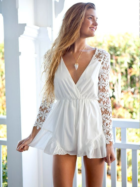 white-lace-sleeve-romper