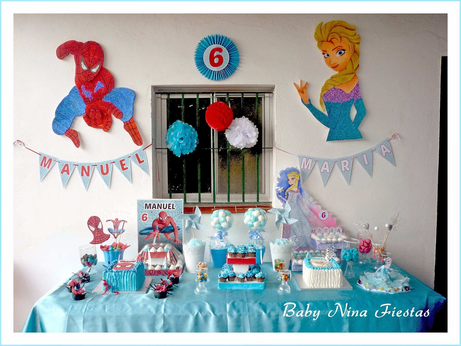 mesa dulce doble frozen y spiderman