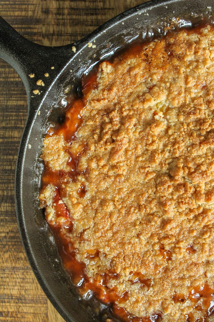 Skillet Peach Almond Crisp | The Chef Next Door