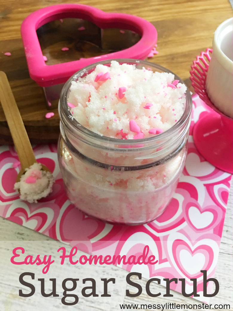 Easy homemade sugar scrub. Follow our easy instructions to find out how to make a DIY sugar scrub.  The addition of hearts makes it perfect as a homemade gift for Valentines Day or Mothers Day.