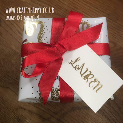 Christmas gift with personalised tag hand stamped using the Make A Difference stamp set by Stampin' Up!