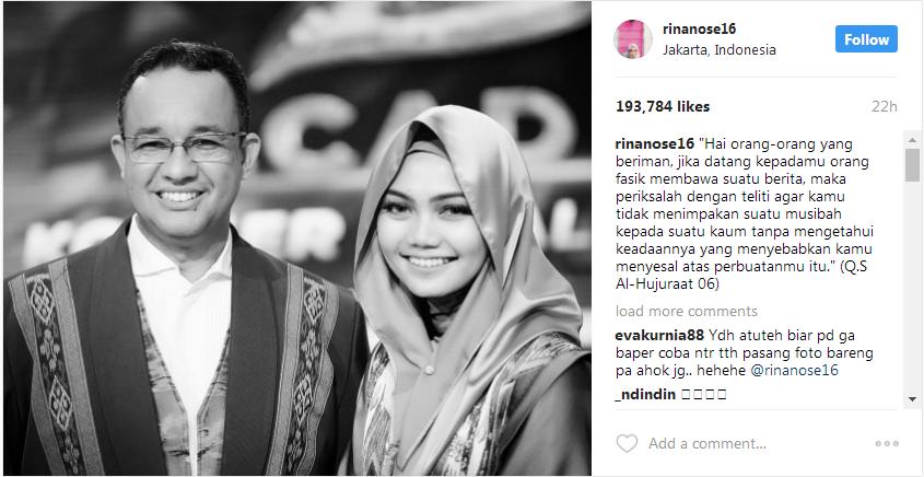 Telak! Rina Nose Posting Foto Bareng Anies Sambil Kutip Al Hujurat : 6, Netizen: Inul Mana Inul?