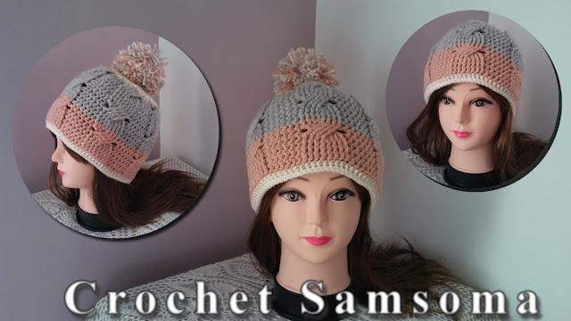 كروشيه طاقية بغرزة الضفيرة .  كروشيه أيس كاب بغرزة الضفيرة   . crochet gorro de trenza .   how to crochet a cable hat . كروشيه طاقية.  Crochet Cable Stitch
